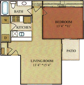 A1 - One Bedroom / One Bath - 643 Sq. Ft.*