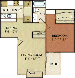 A2 - One Bedrooms / One Bath - 686 Sq. Ft.*