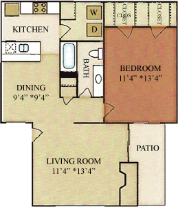A3 - One Bedroom / One  Bath - 711 Sq. Ft.*