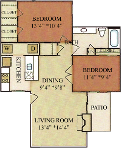 B1 - Two Bedrooms / One Bath - 852 Sq. Ft.*
