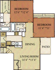 B2 - Two Bedrooms / Two Baths - 921 Sq. Ft.*