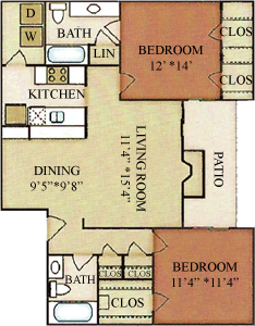 B3 - Two Bedrooms / Two Baths - 971 Sq. Ft.*